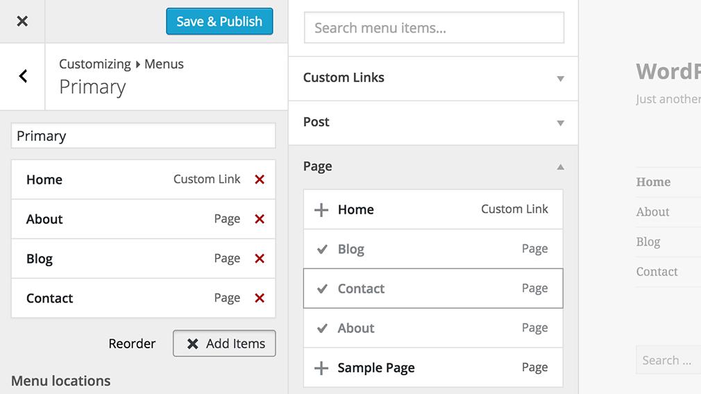 Personalización de Menus en WordPress 4.3