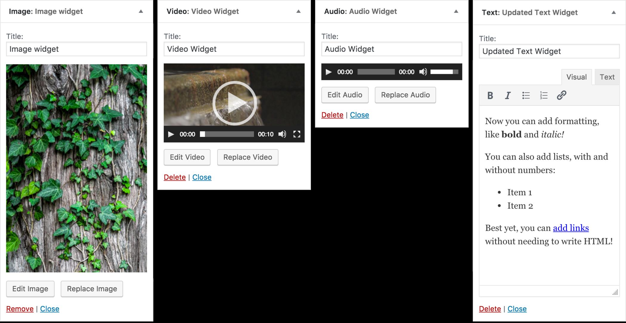 Kuva-, ääni- ja videovimpain sekä graafinen editori tekstivimpaimessa.