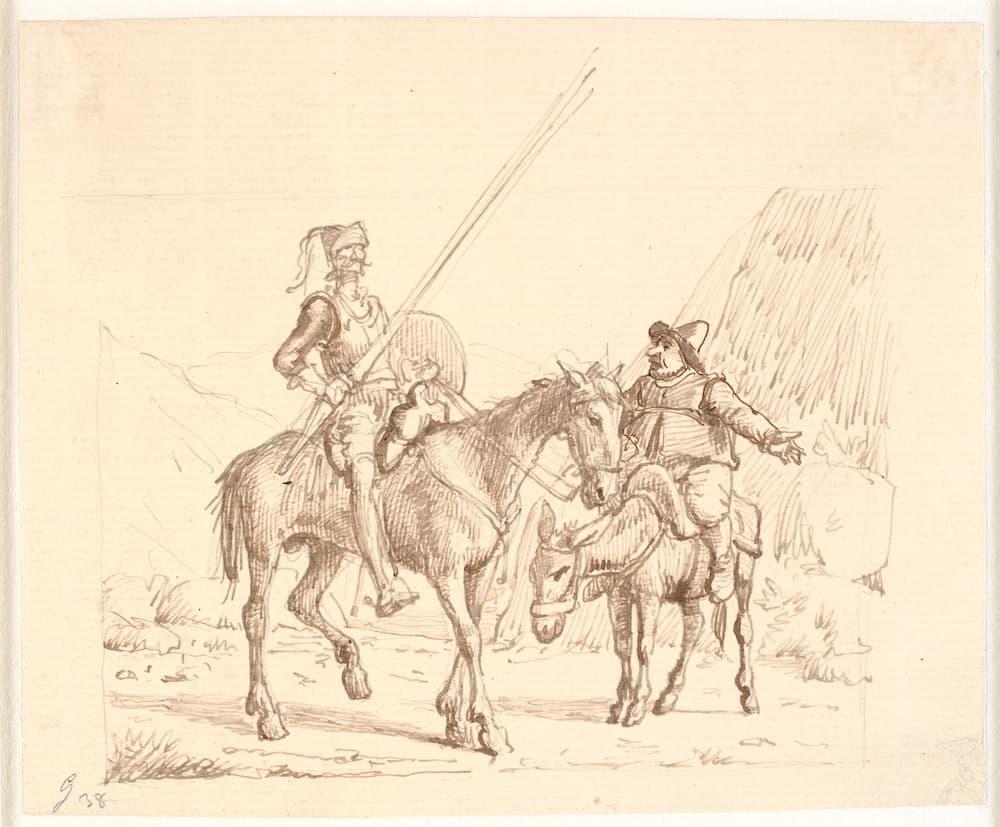 Don Kişot ve Sanço Panza'nın atları üzerinde otururken eski bir kara kalem çizimi, Wilhelm Marstrand.