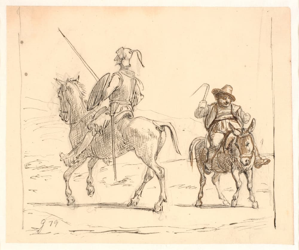 An old pencil drawing of Don Quixote and Sancho Panza sitting on their horses, by Wilhelm Marstrand.