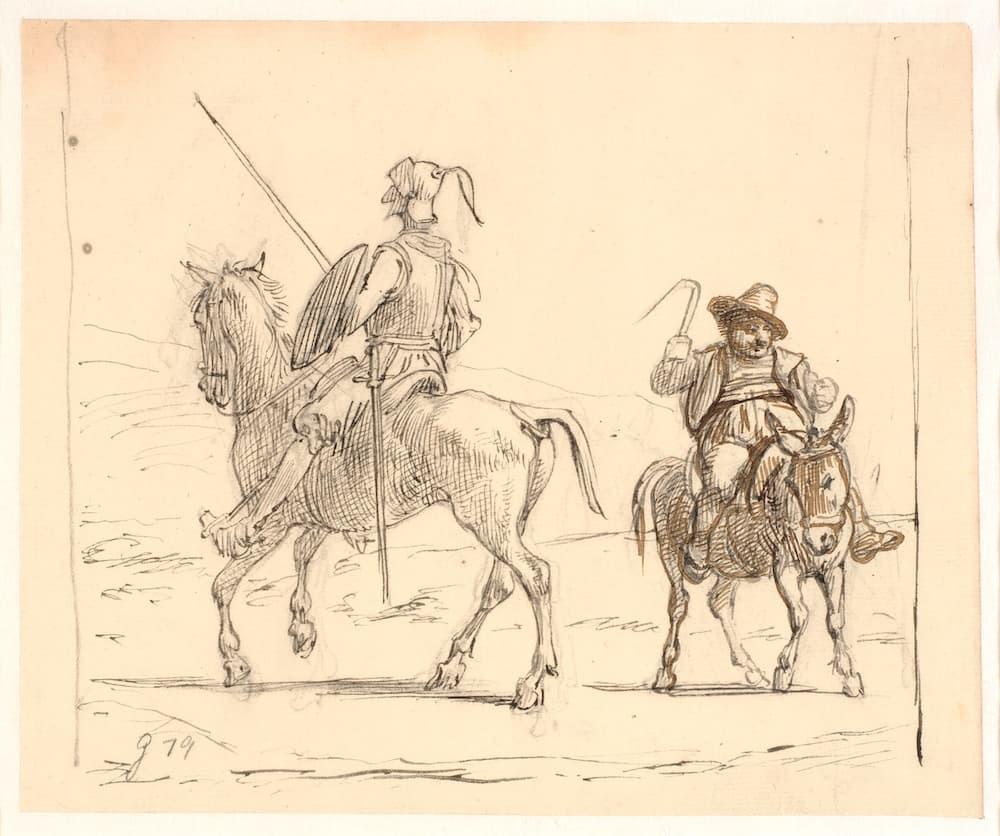 Eine alte Bleistiftzeichnung von Don Quijote und Sancho Panza, die auf ihren Pferden sitzen – von Wilhelm Marstrand.