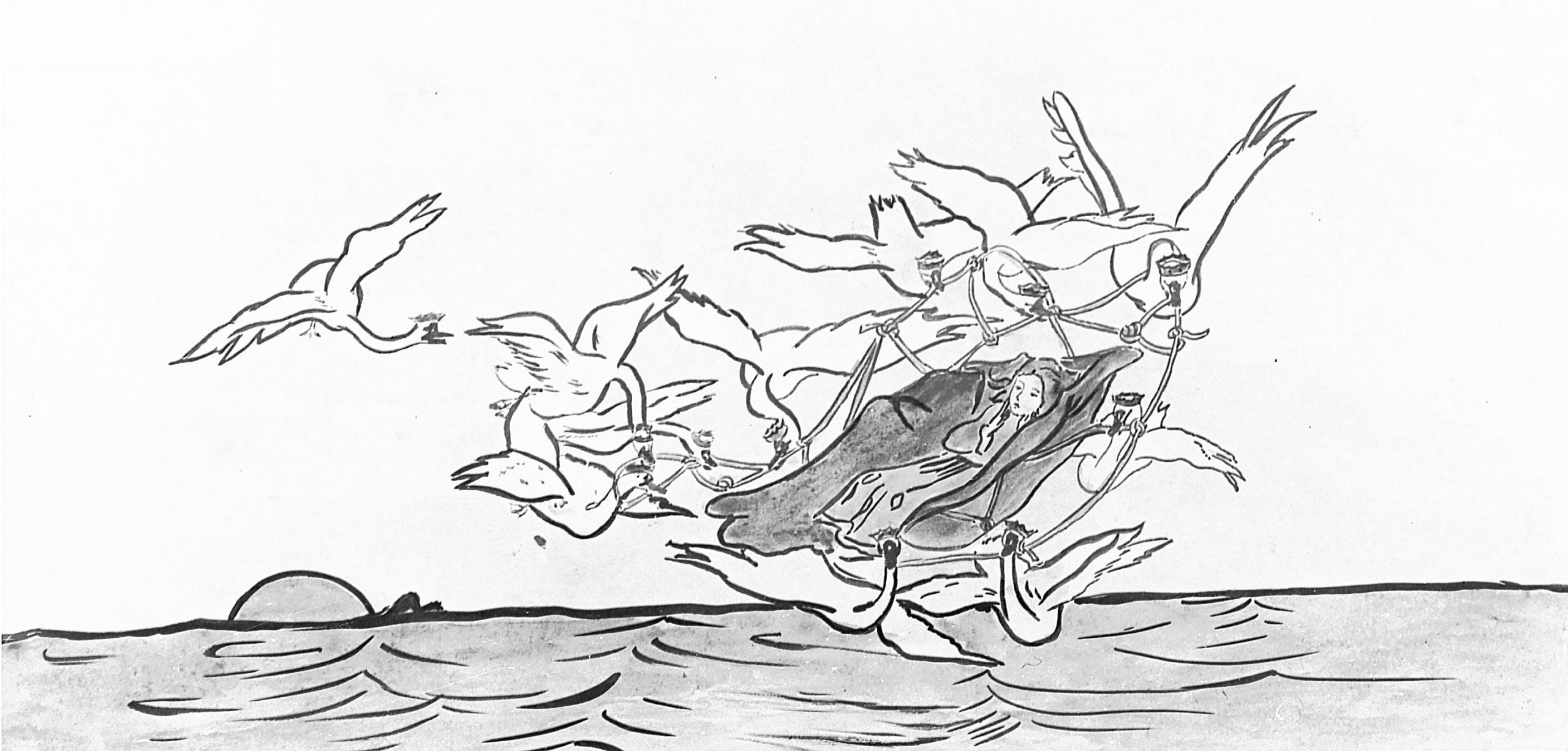 Image of a woman being carried through the air by swans.
