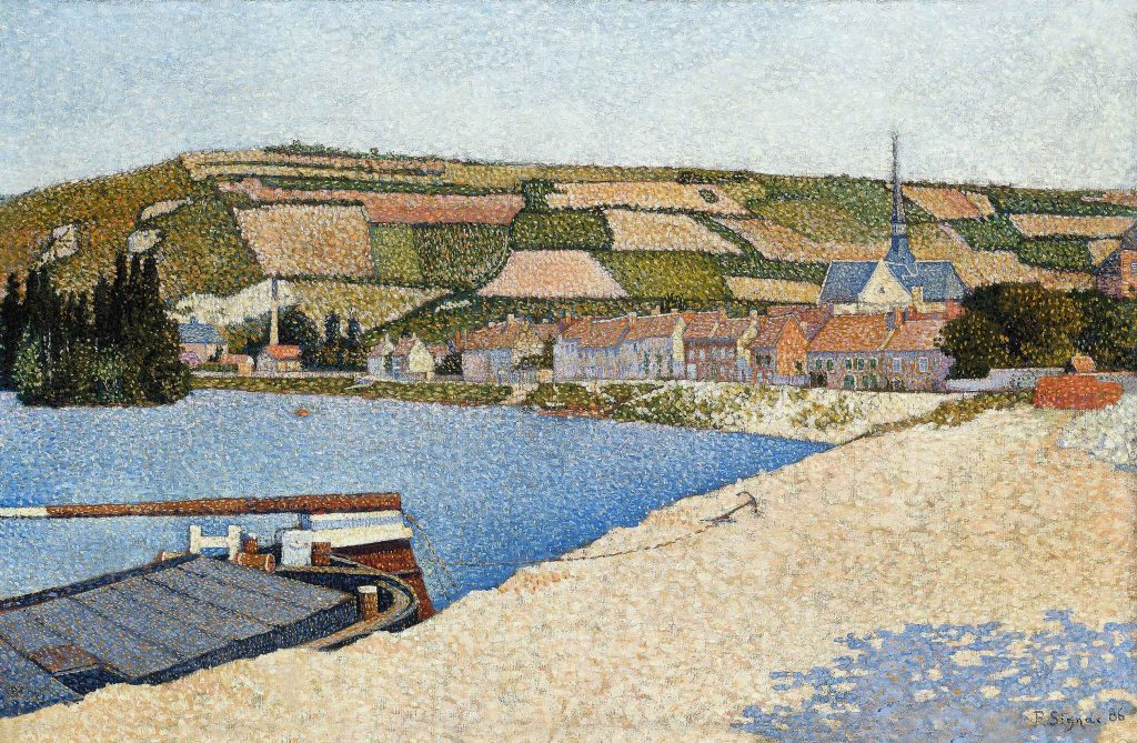 Impressionist painting by Paul Signac of a seaside scene.