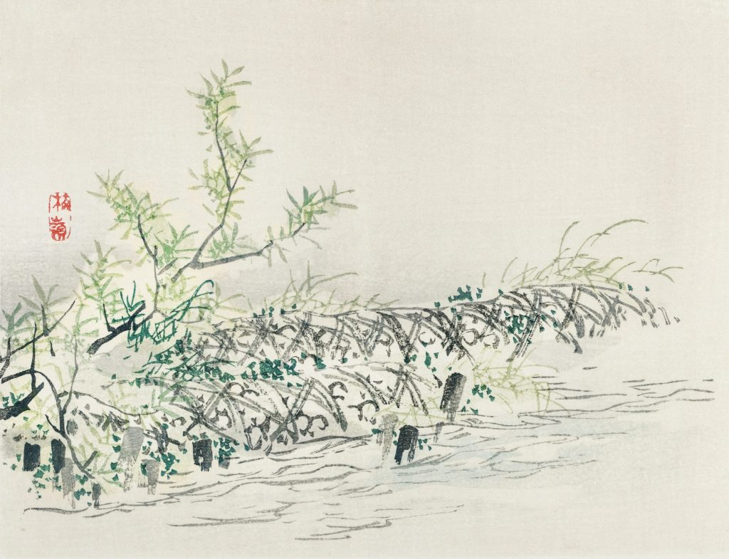 Japanese painting of flora on a river.