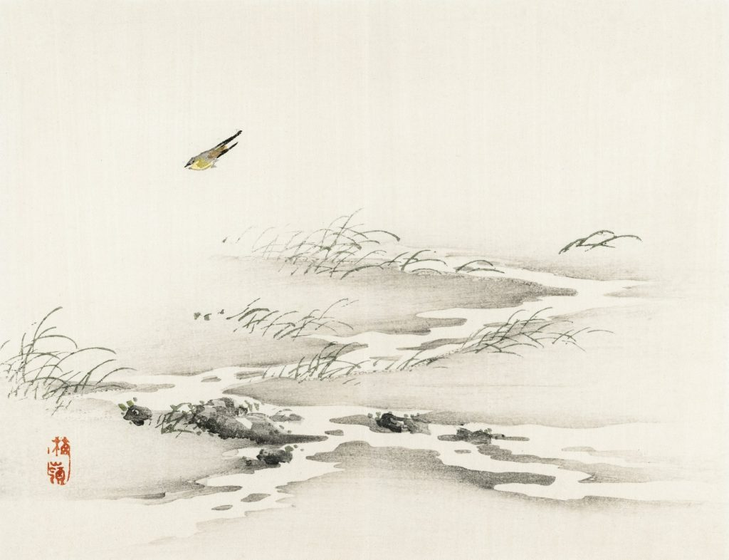 A japanese painting of a bird in a river.