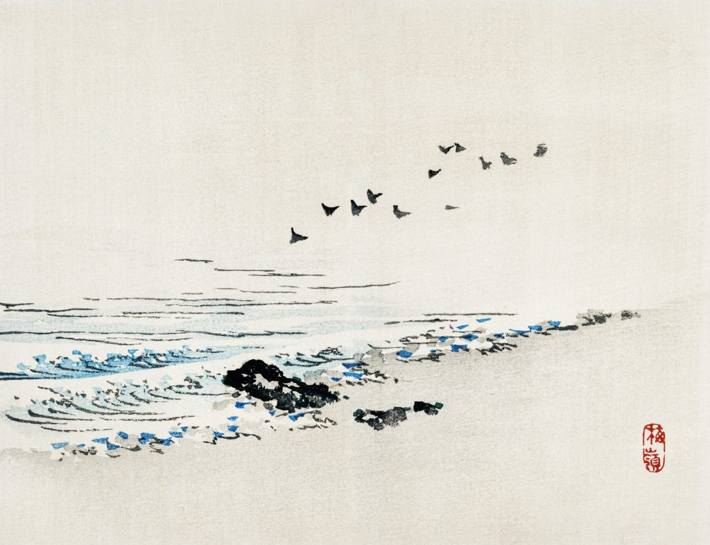 Japanese painting of birds in the shore.