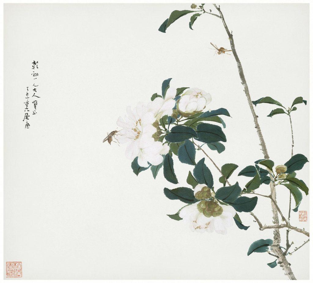 Illustration med vita blommor och insekter.