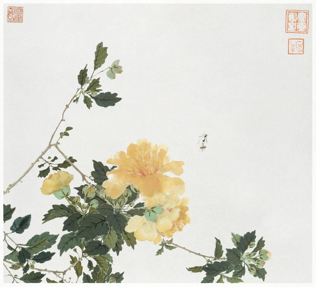 Illustration med gula blommor och insekter.