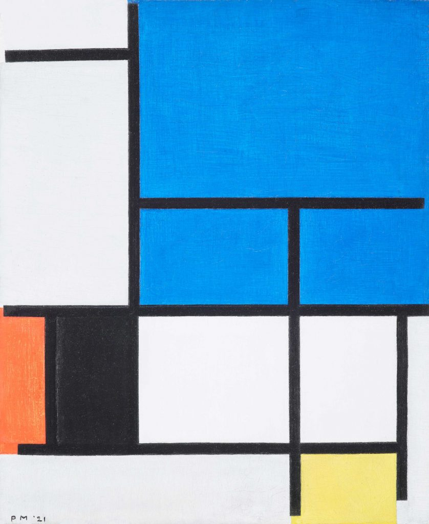 Composition with Large Blue Plane, Red, Black, Yellow, and Gray by Piet Mondrian.